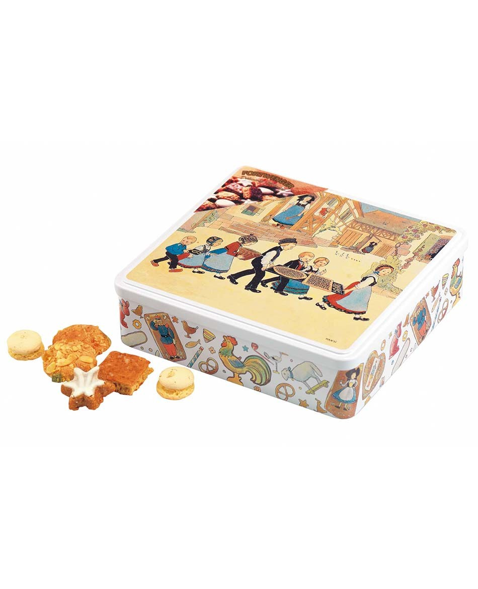 Large biscuit tin with Hansi decoration