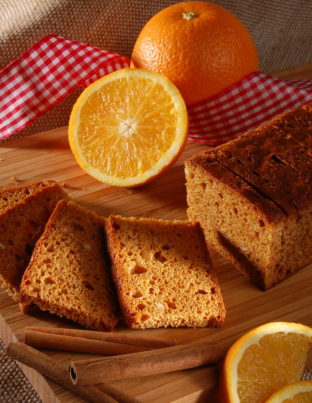 Gingerbread loaf with orange