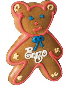 Alsatian gingerbread teddy bear with pink edging