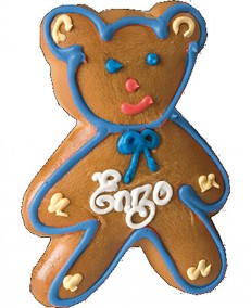 Alsatian gingerbread teddy bear with blue edging