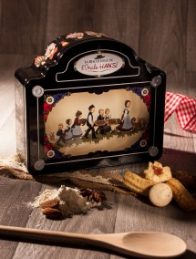 "Uncle Hansi's Biscuit Factor Black ""Children and baking"" tin"