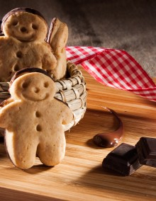 Little gingerbread man with chocolate-coated back