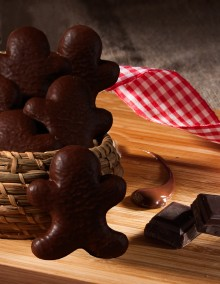 Gingerbread Man covered with dark chocolate