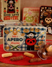 "Sugar tin with Bretzel Airlines ""Aperitif"" decoration"