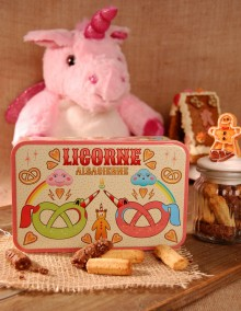 "Sugar tin with Bretzel Airlines ""Unicorn"" decoration"
