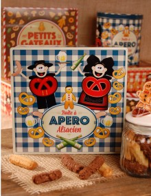 "Tall square tin with Bretzel Airlines ""Aperitif"" decoration"