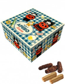 """Tall square tin with Bretzel Airlines """"Aperitif"""" decoration"""