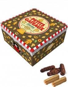 """Tall square tin with Bretzel Airlines """"Cakes"""" decoration"""