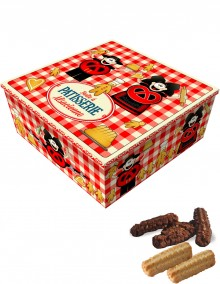 """Tall square tin with Bretzel Airlines """"Confectionery"""" decoration"""