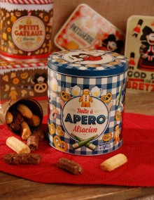 "Pretzel tin with Bretzel Airlines ""Aperitif"" decoration"