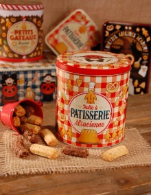 "Pretzel tin with Bretzel Airlines ""Confectionery"" decoration"